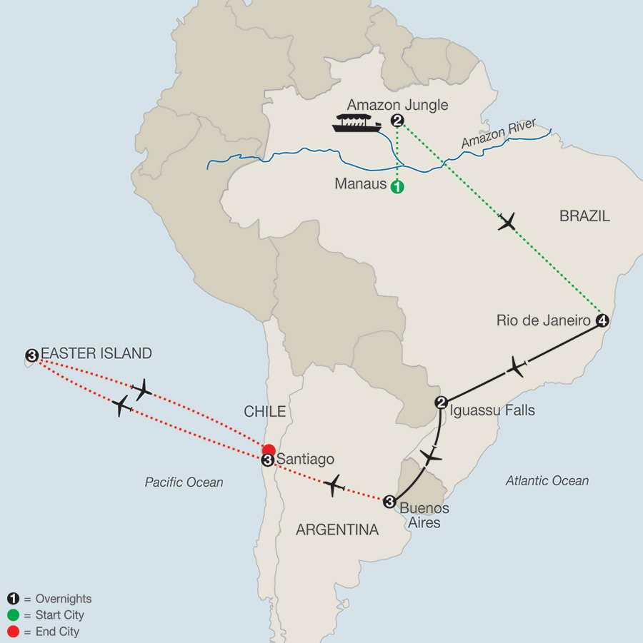 South American Escape with Amazon, Santiago & Easter Island map