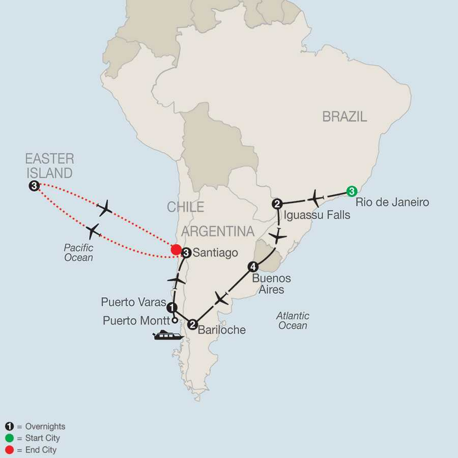 South American Odyssey with Easter Island map