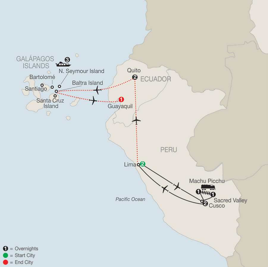 Peru Splendors with Galápagos Cruise map