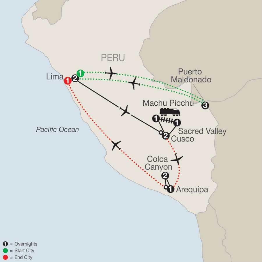 Peru Splendors with Peru's Amazon, Arequipa & Colca Canyon map