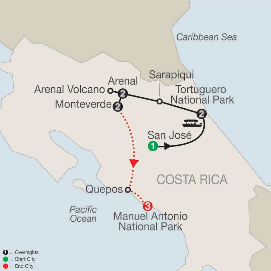 Natural Wonders of Costa Rica with Manuel Antonio map