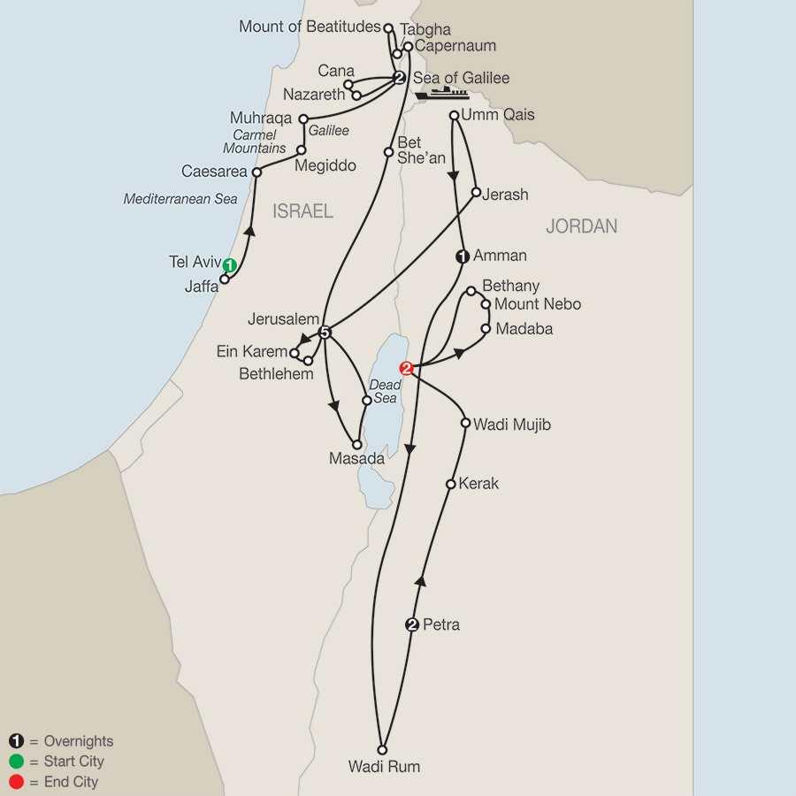 Journey Through the Holy Land with Jordan – Faith-Based Travel map