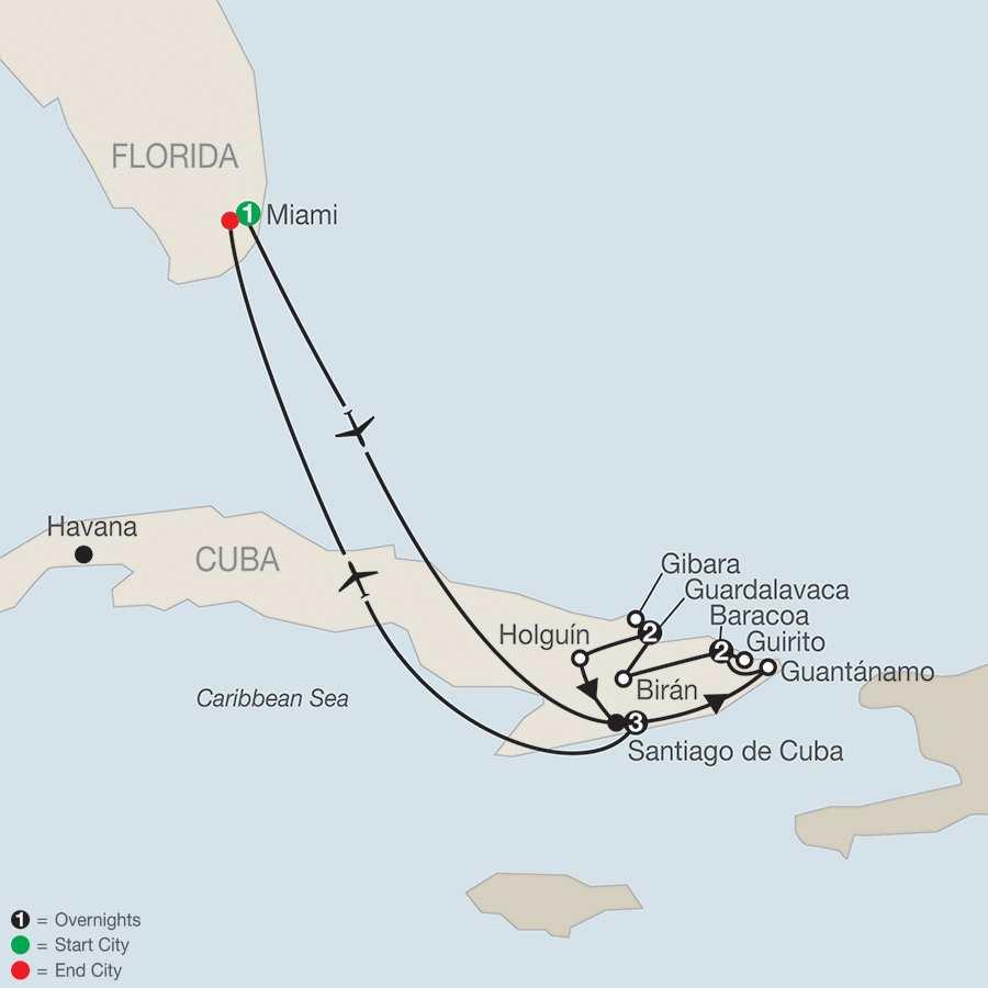 Eastern Cuba's Hidden Gems map