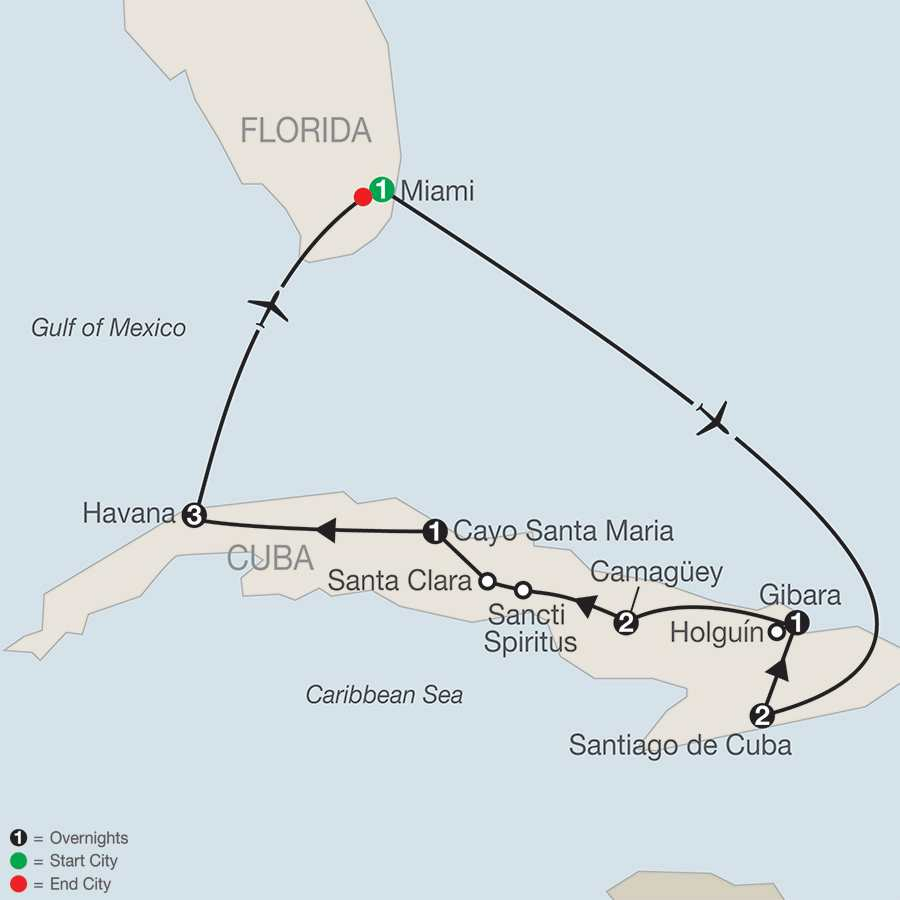 Spiritual Journey through Cuba map