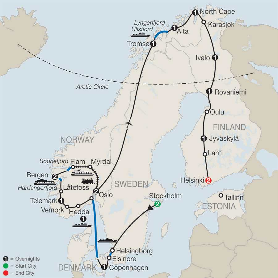 The Grand Scandinavian Circle Tour map