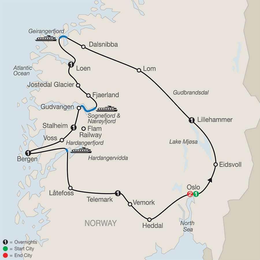 Scenic Norway map