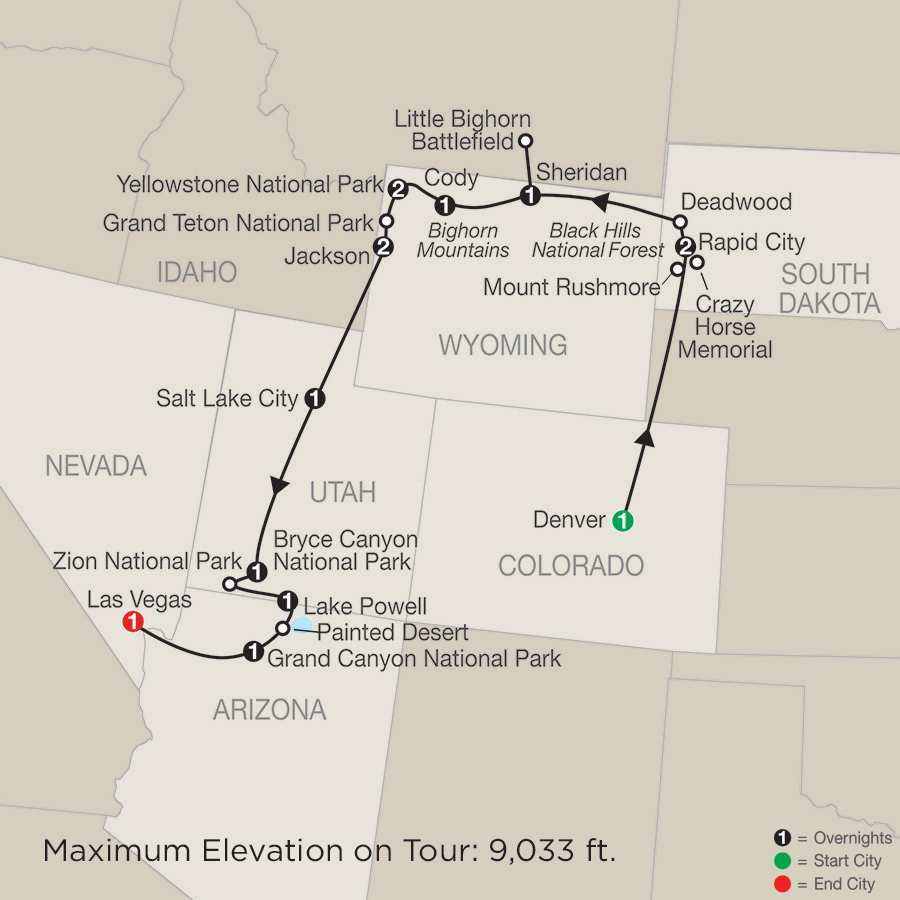 Parks & Canyons Spectacular with Denver map