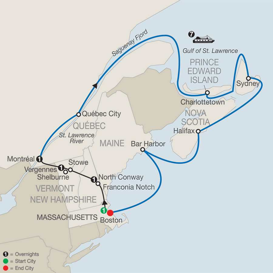 Passage through New England & Eastern Canada map