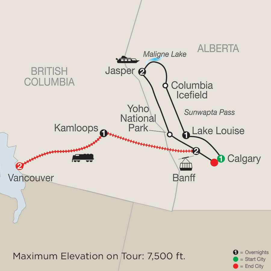 Great Resorts of the Canadian Rockies with the Rocky Mountaineer map