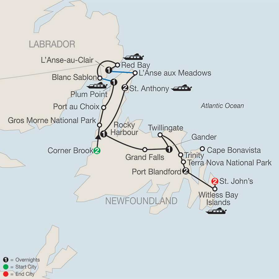 Newfoundland & Labrador with Iceberg Festival map