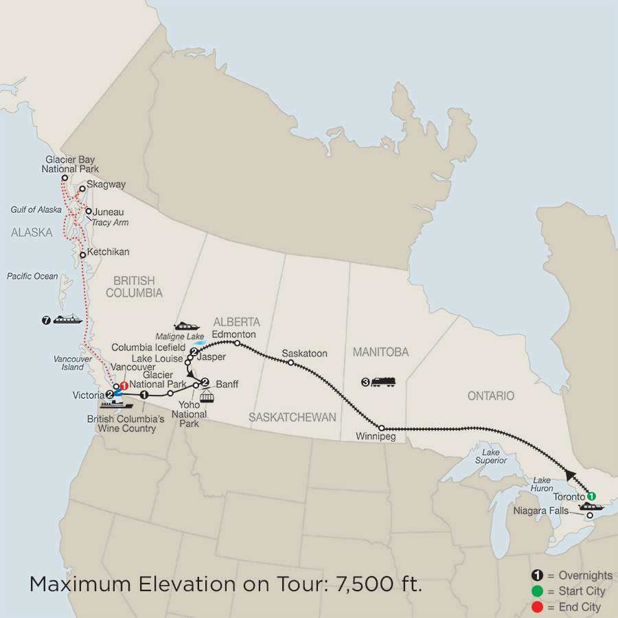 Great Canadian Rail Journey with Alaska Cruise map