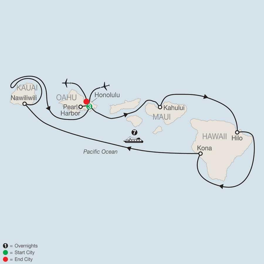 Cruising Hawaii's Paradise with Sheraton Princess Kaiulani map