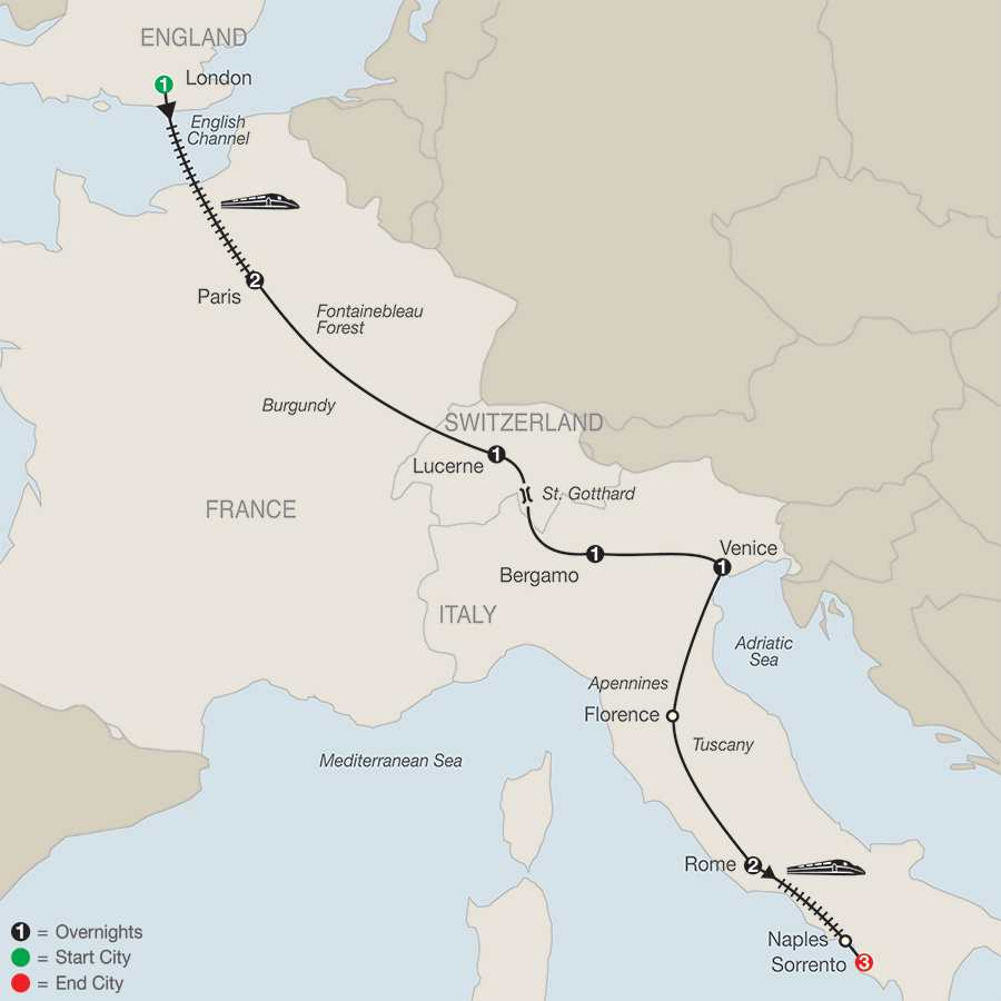 European Highlights with Sorrento map