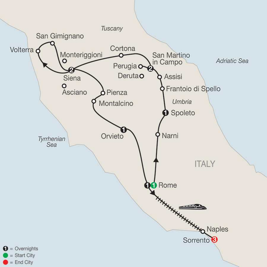 Gems of Umbria & Tuscany with Sorrento map