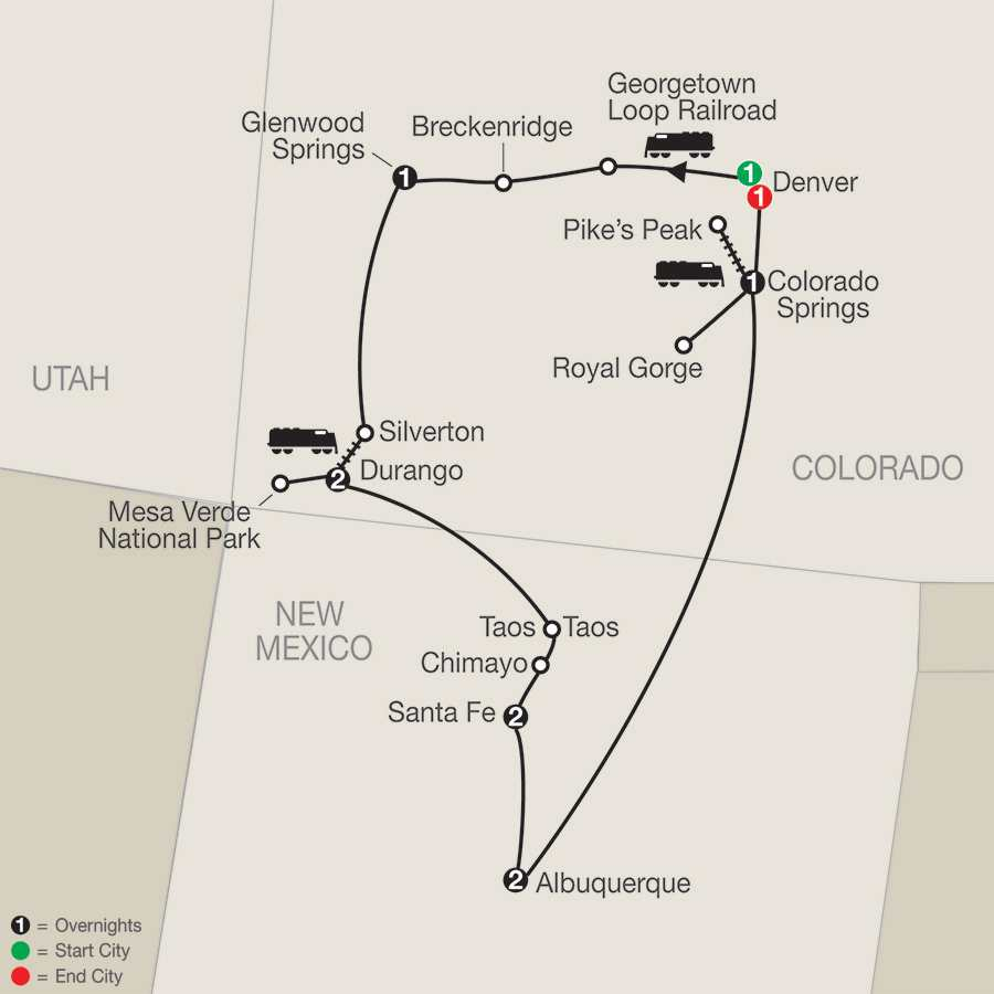 Historic Trains of the Old West with Albuquerque Balloon Fiesta map