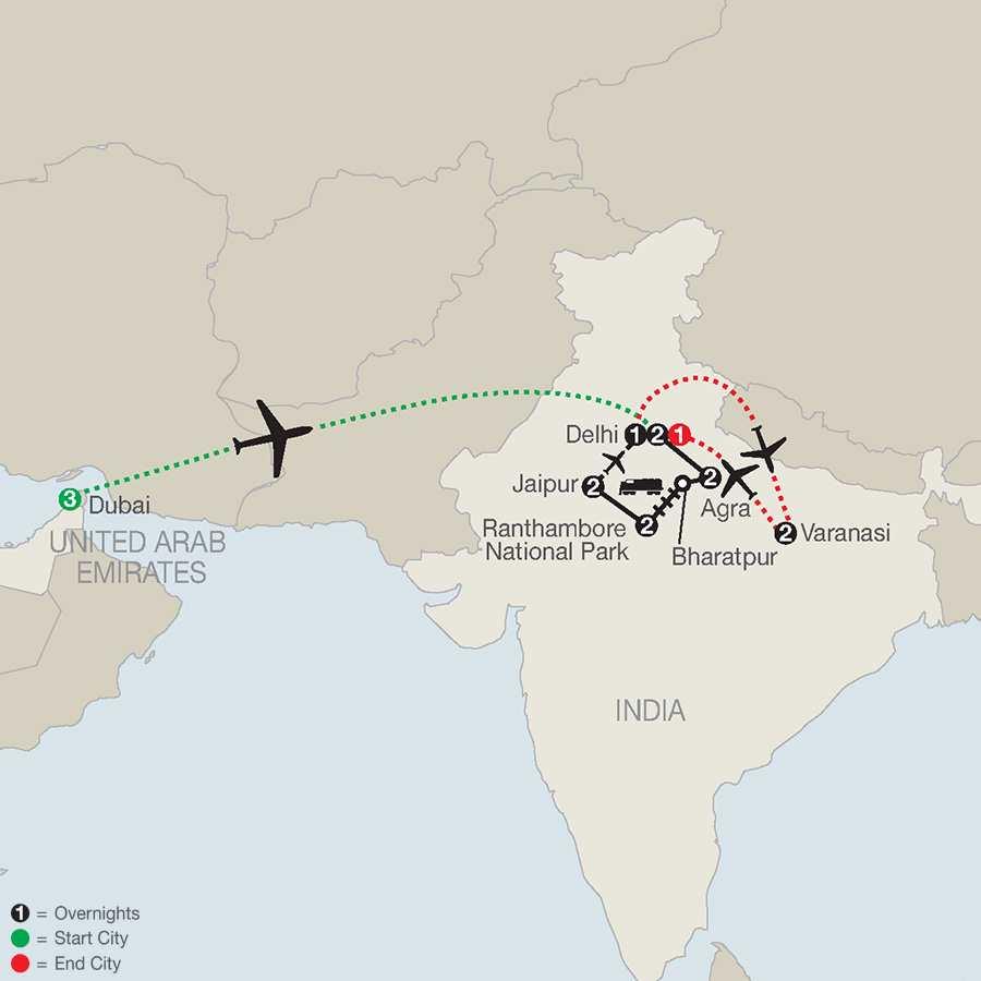 Icons of India: The Taj, Tigers & Beyond with Dubai & Varanasi map