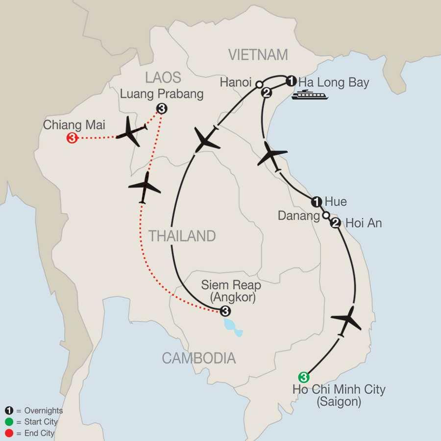 Exploring Vietnam & Cambodia with Luang Prabang & Chiang Mai map