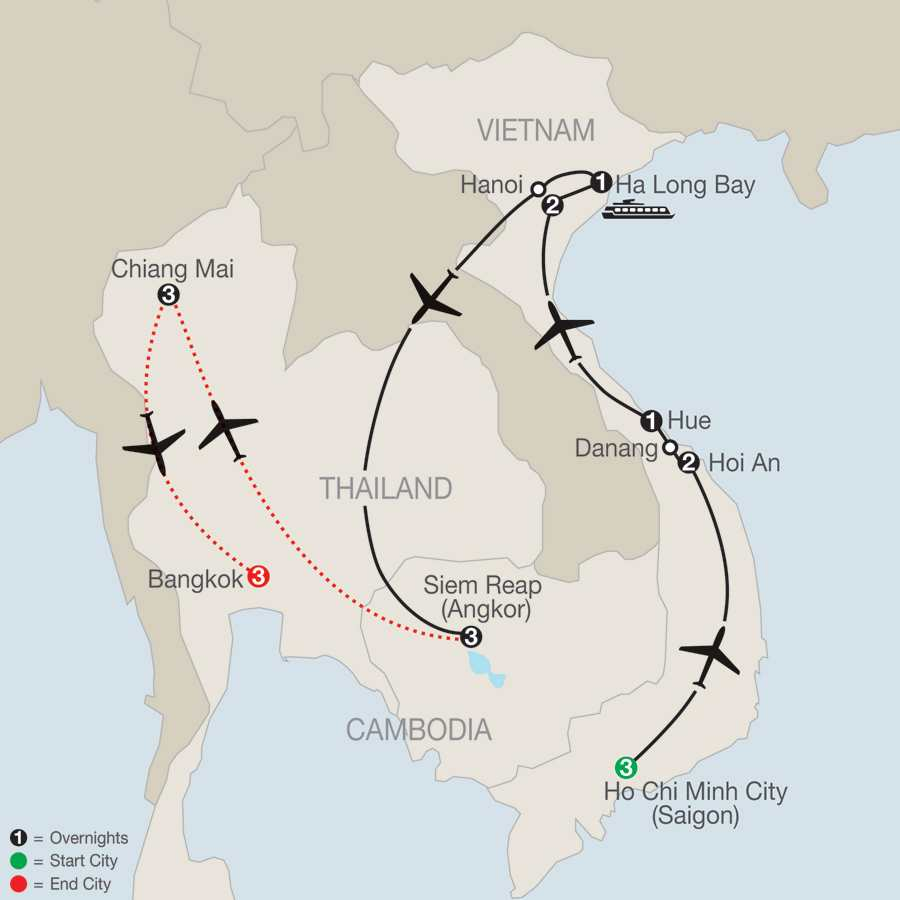 Exploring Vietnam & Cambodia with Chiang Mai & Bangkok map