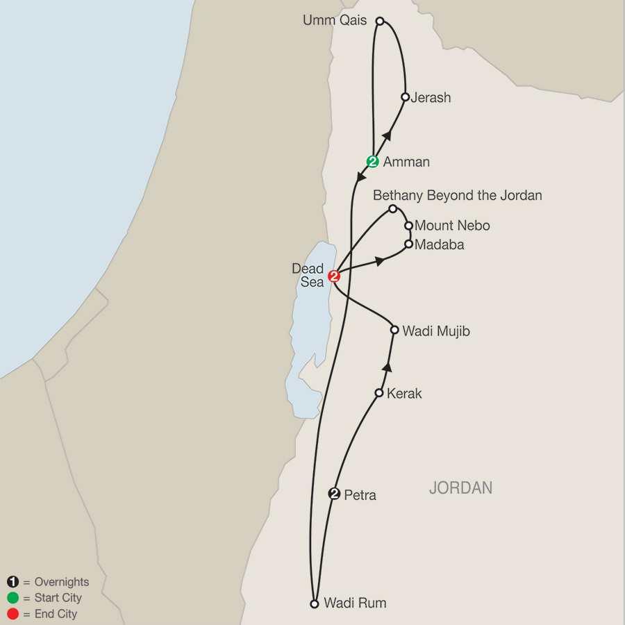 Wonders of Jordan map
