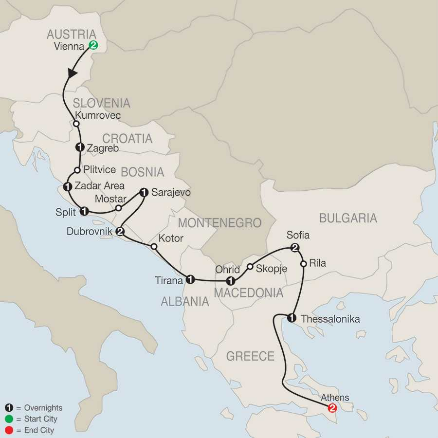 From Vienna to Athens map