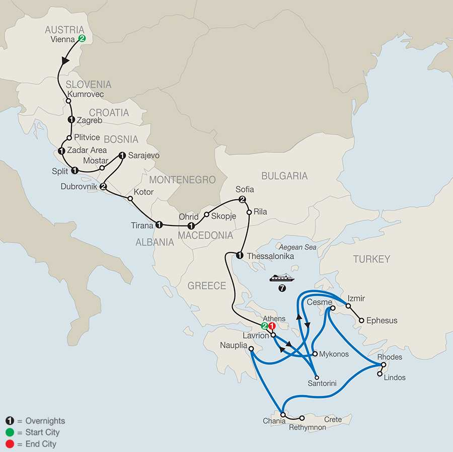 From Vienna to Athens with Euphoric Aegean 7-night Cruise map