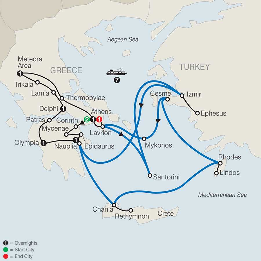 Classical Greece with Euphoric Aegean 7-Night Cruise map