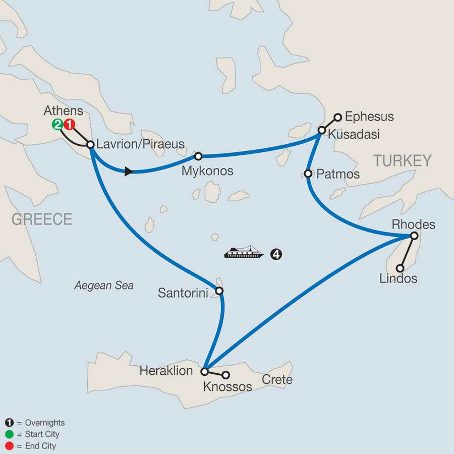 Iconic Aegean with 4-Night Cruise map