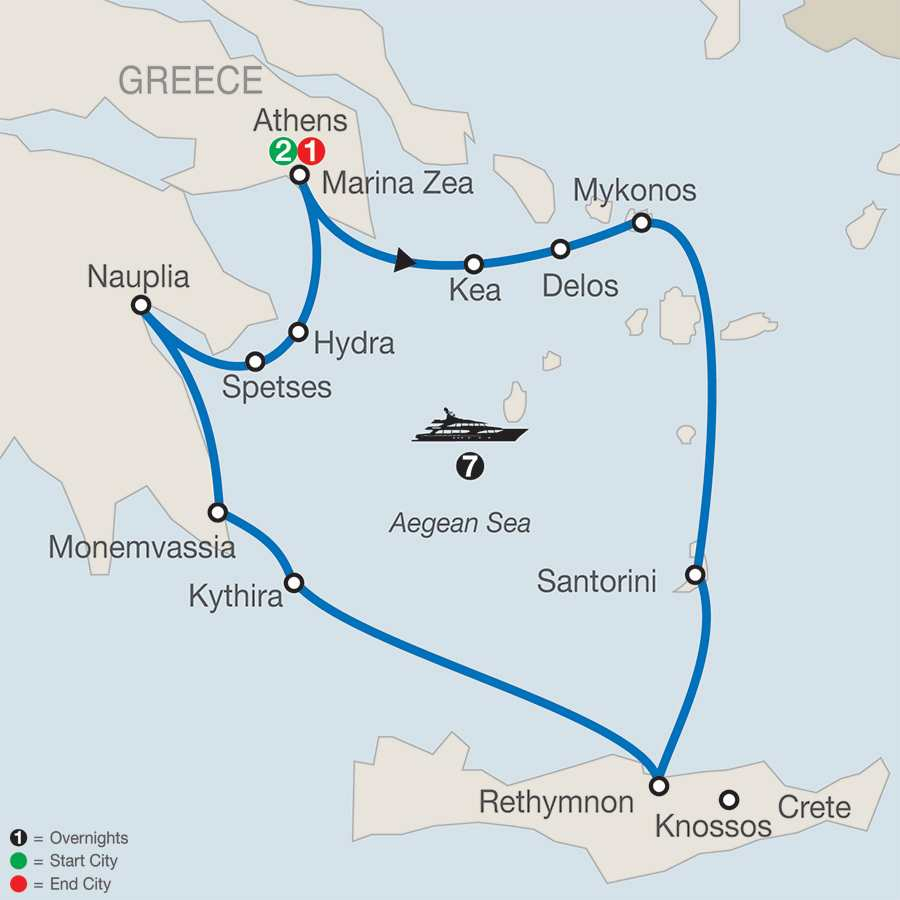 Athens & Continental Odyssey with 7-Night Cruise map