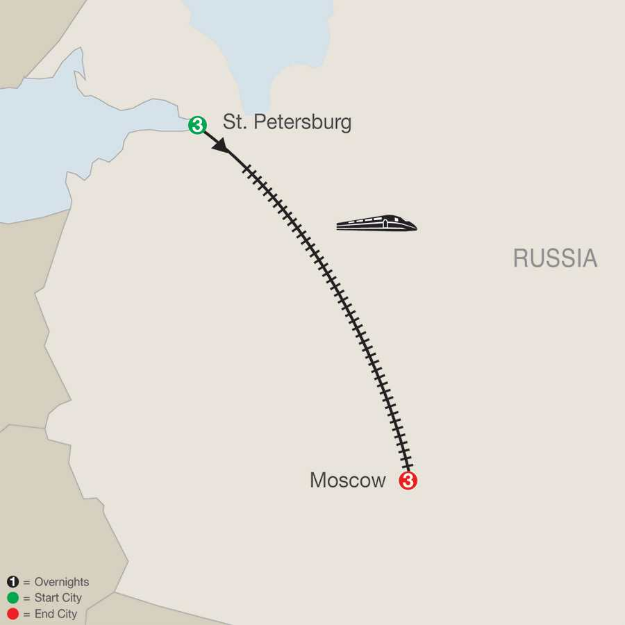 St. Petersburg & Moscow map