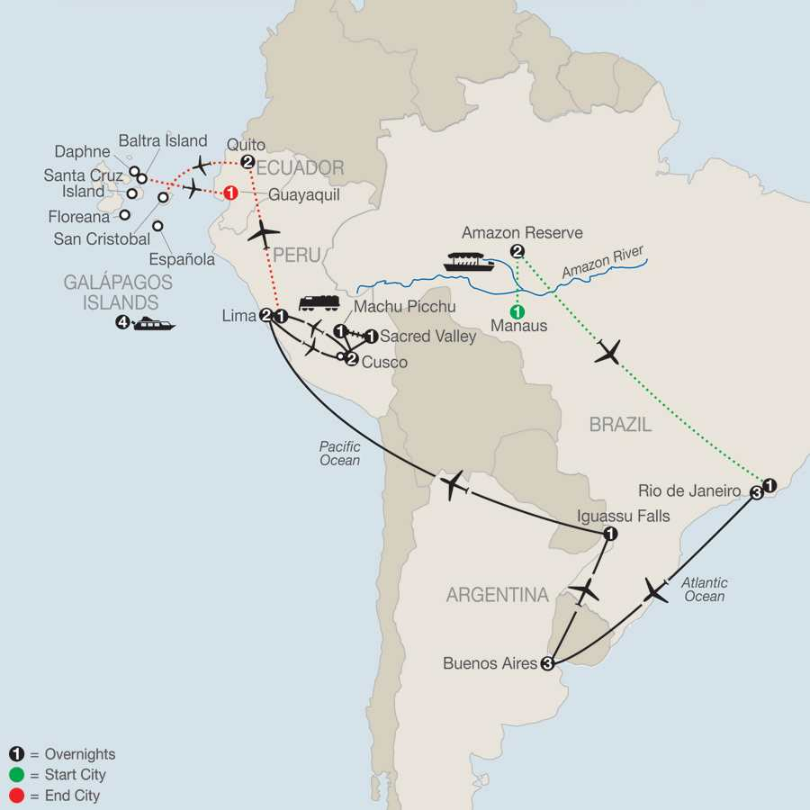 Spirit of South America with Amazon & Galápagos Cruise map