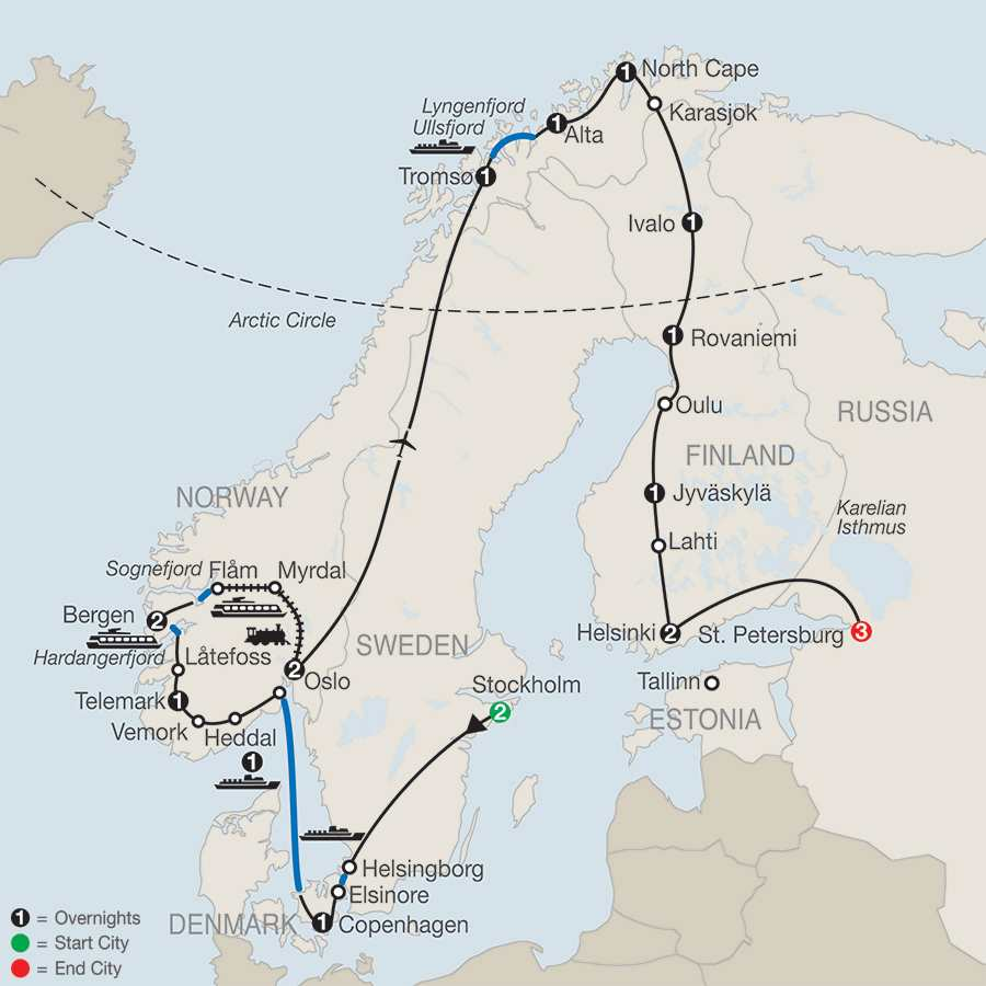 The Grand Scandinavian Circle Tour with St. Petersburg map