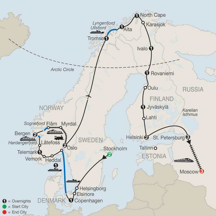 The Grand Scandinavian Circle Tour with St. Petersburg & Moscow map