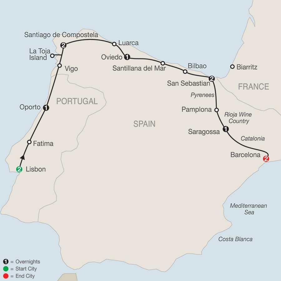Lisbon & Northern Spain map
