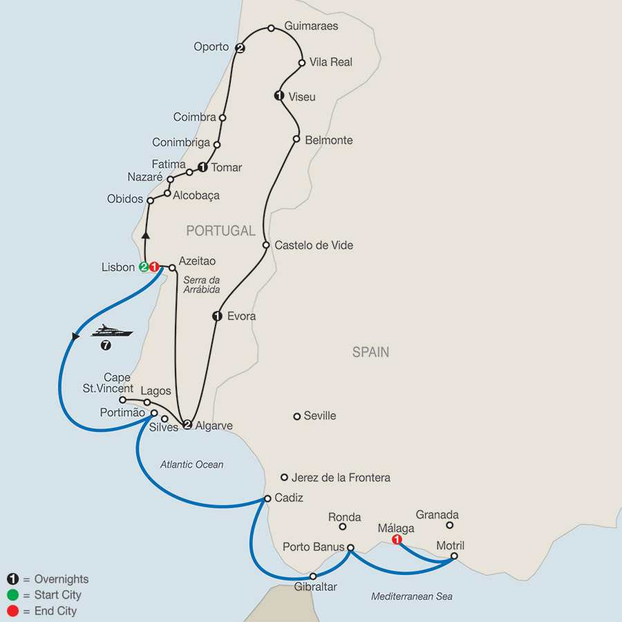 Portugal in Depth with 7-night Cruise map