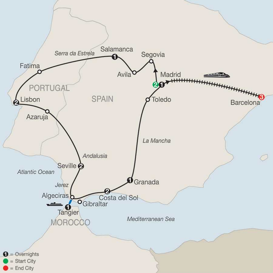 Iberian Vacation with Barcelona map