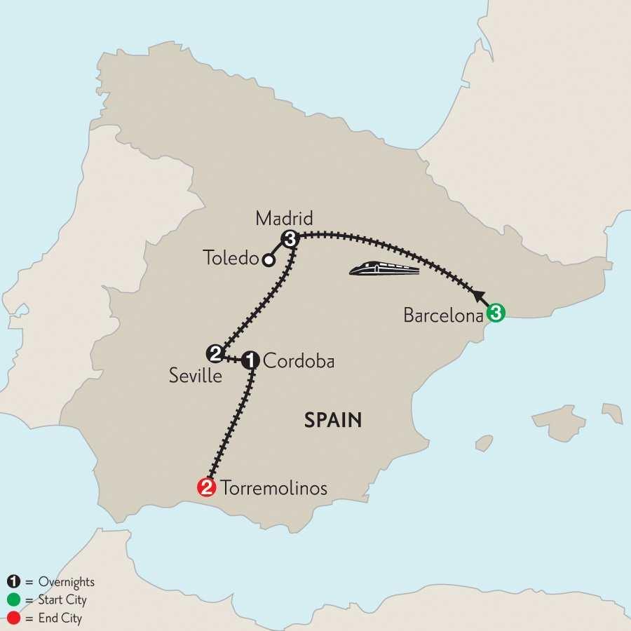 Barcelona, Madrid, Seville, Cordoba & Torremolinos with Toledo