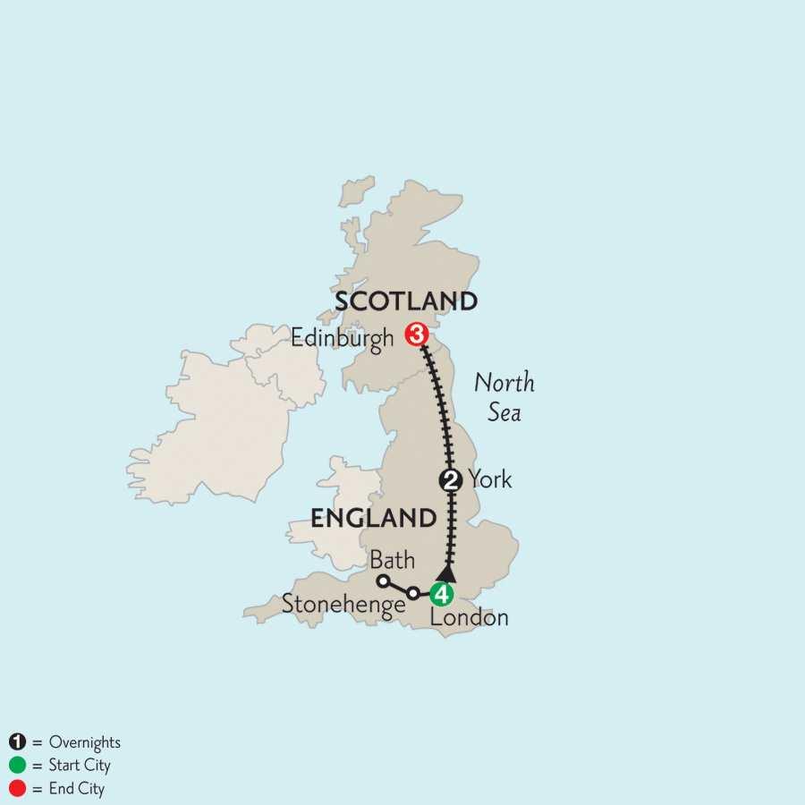 London, York & Edinburgh with Stonehenge & Bath