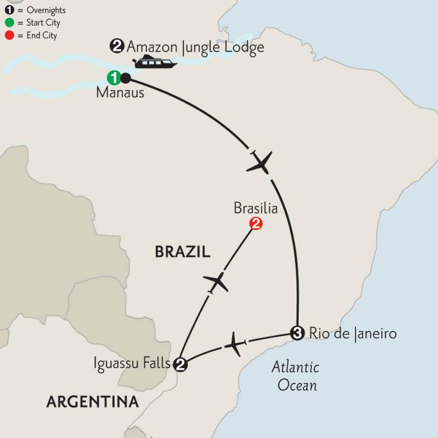 with Brazil's Amazon & Brasilia