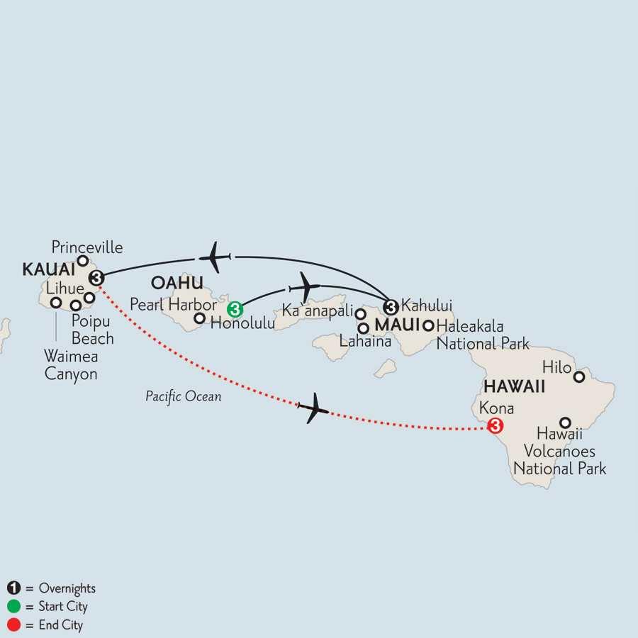 Oahu, Maui, Kauai & Kona