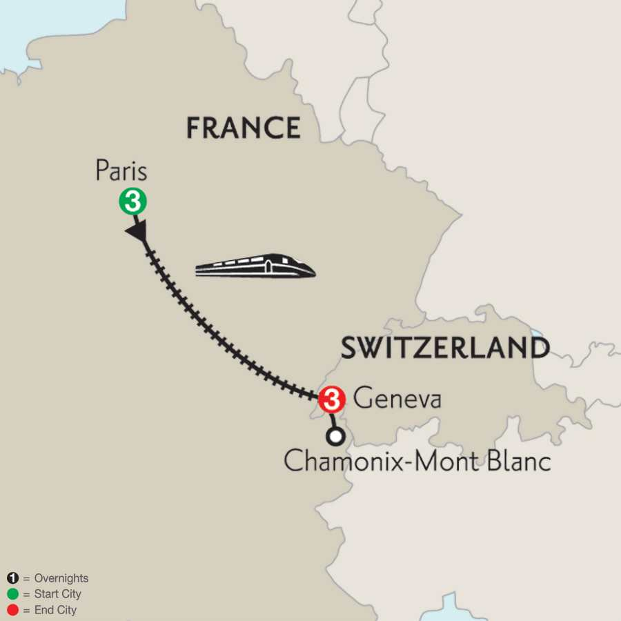 Paris & Geneva with Mont Blanc