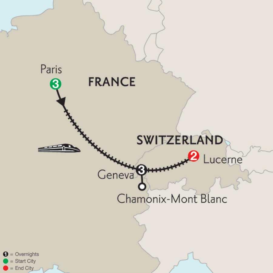 Paris, Geneva with Mont Blanc & Lucerne