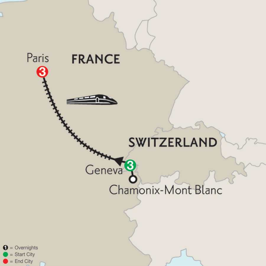 Geneva with Mont Blanc & Paris