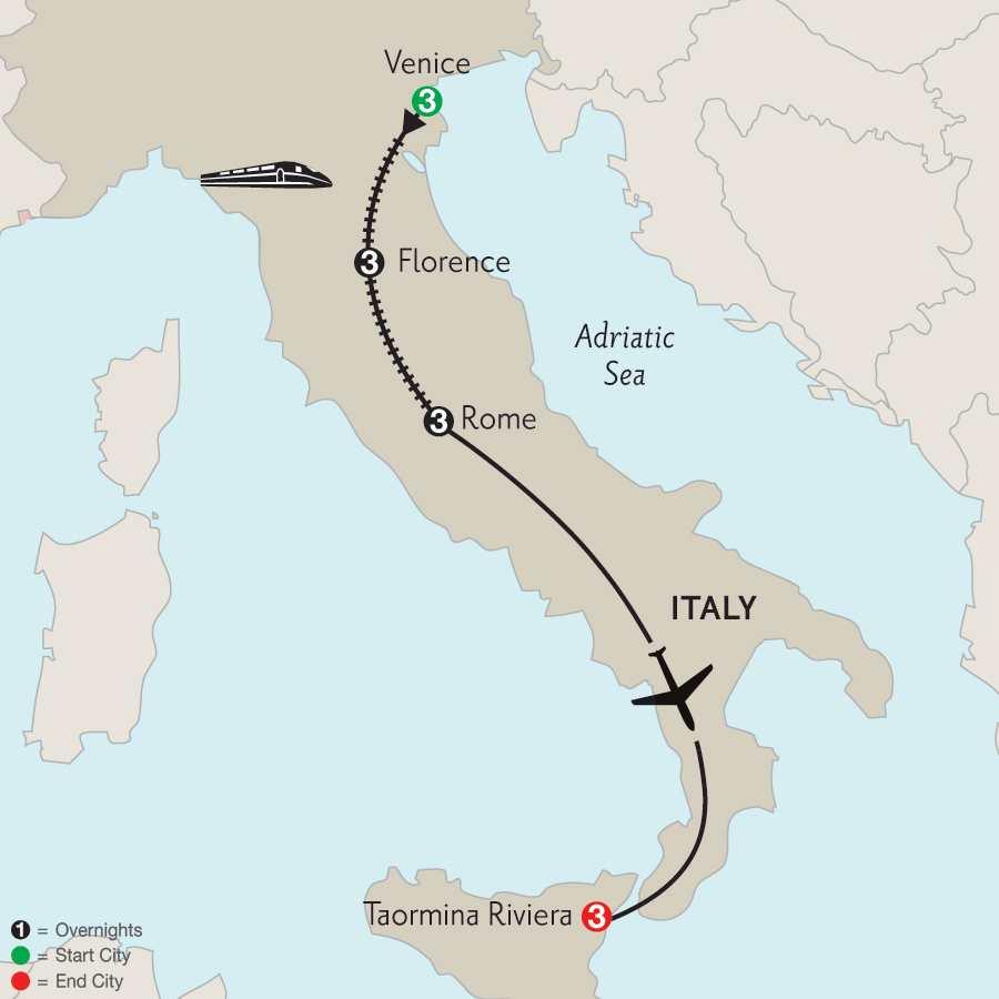 Venice, Florence, Rome & Taormina Riviera