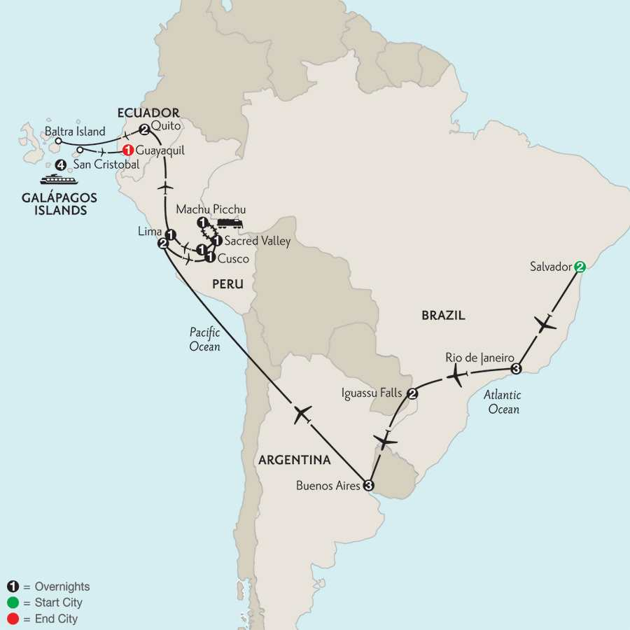 Grand Tour of South America with Salvador & the Galápagos on board the Santa Cruz