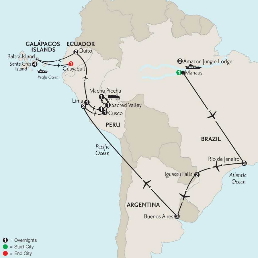 Grand Tour of South America with Brazil's Amazon & the Finch Bay in the Galápagos