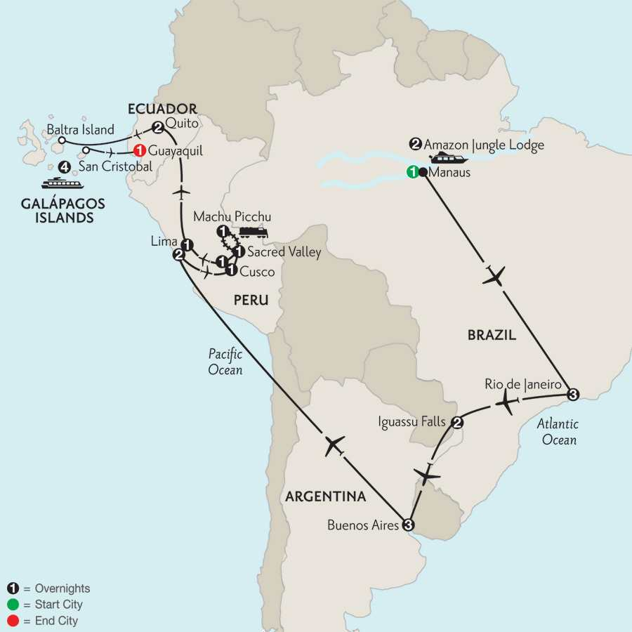Grand Tour of South America with Brazil's Amazon & the Galápagos on board the Santa Cruz