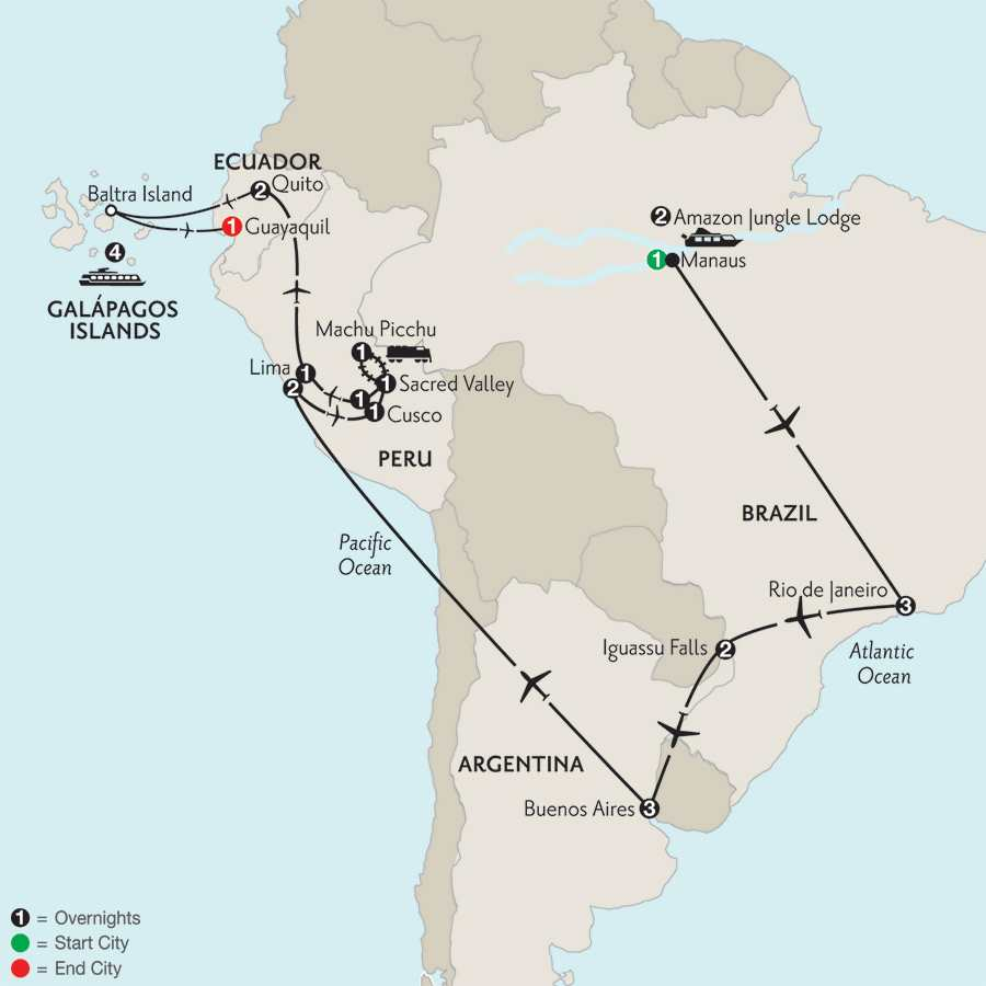 Grand Tour of South America with Brazil's Amazon & the Galápagos on board the La Pinta