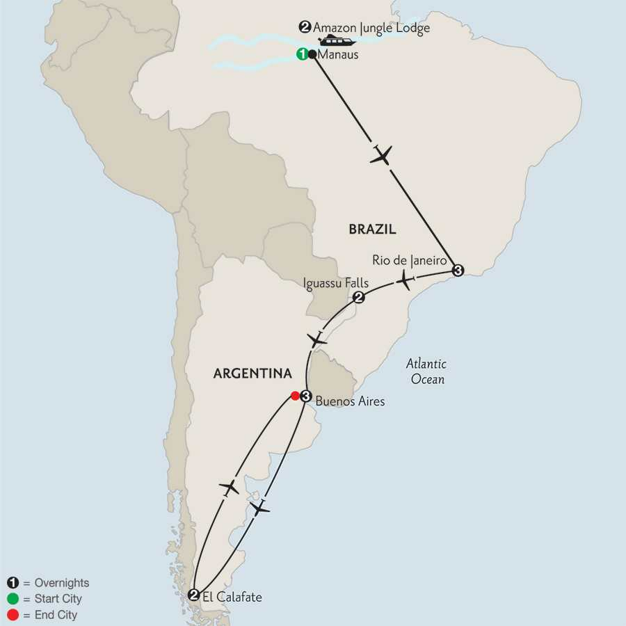 with Brazil's Amazon & El Calafate