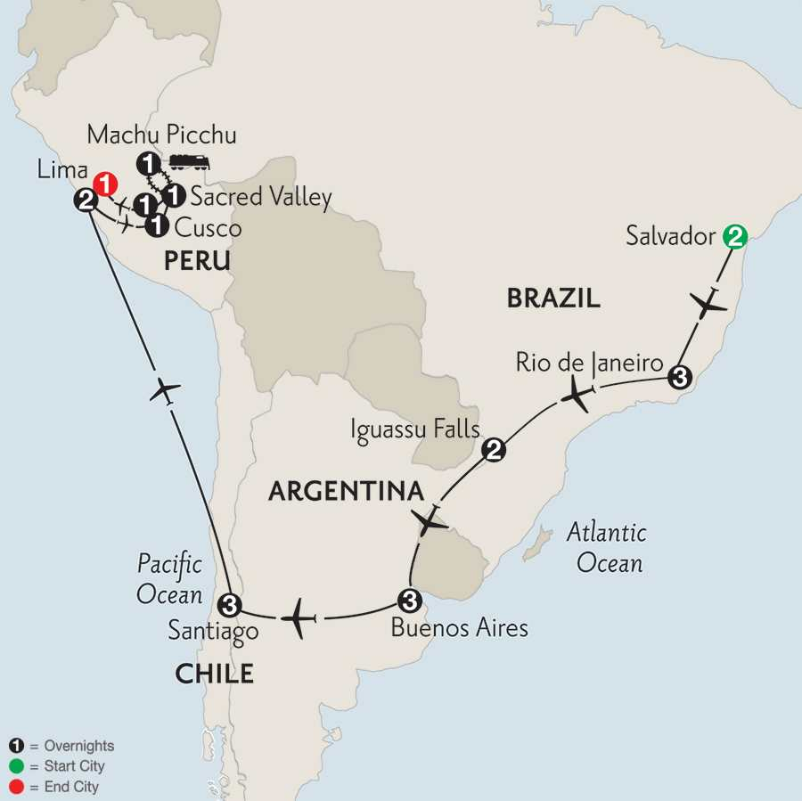 Brazil, Argentina & Chile with Salvador, Peru & Machu Picchu