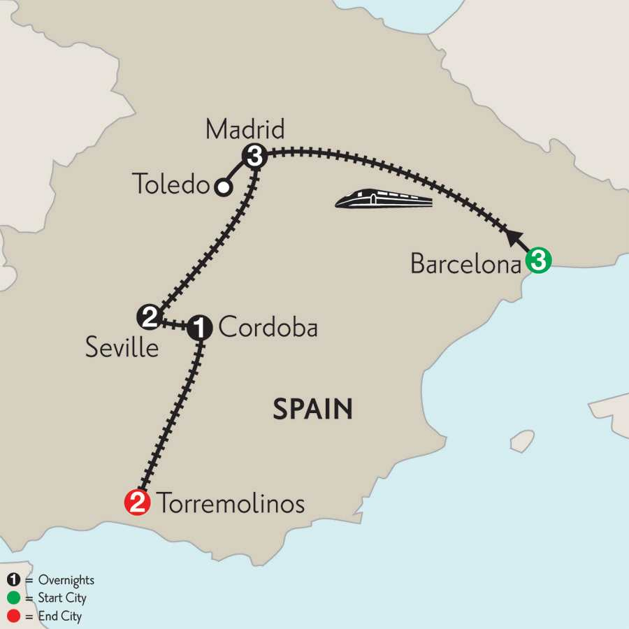 Barcelona, Madrid with Toledo, Seville, Cordoba & Torremolinos